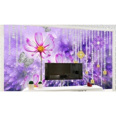 3D Dinding Mural Wallpaper TV Backdrop Custom 3D Dinding Kertas untuk Ruang Tamu Girl Heart Pearl Daisy Wallpaper Dinding Bata -Intl