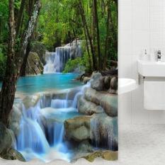 Harga 3D Air Terjun Pemandangan Alam Mandi Tirai Tahan Air Polyester Bathroom Gadget Intl Oem Tiongkok