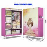 Harga 3Kg Lemari Plastik 105Ci 3D Pink G*rl Printing Lemari Kain 105X45X170Cm Buka Atas Online