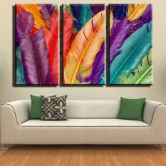 3 Panel Lukisan Gambar Motif Bunga Dinding Modern Cerah Dicetak Pada Kanvas 755 (tanpa Bingkai)