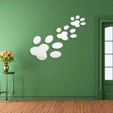 3 Buah Hewan Peliharaan Kucing Anjing Bekas Cakar Tapak 3D Dinding Stiker Rumah Seni Dekorasi