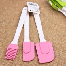 Review Tentang 3 Pcs Pink Silicone Kue Bolu Krim Mentega Sudip Pencampuran Scraper Brush Baking Tool Set Pink Intl