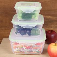 3 Pcs PP Square Food Daging Penyimpanan Set Containers Fresh Microwave Freezer Box-Intl