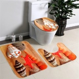 Dapatkan Segera 3 Buah Flanel Lembut Seashell Kontur Alas Karpet Penutup Tutup Toilet Keset Kamar Mandi Karpet Alat