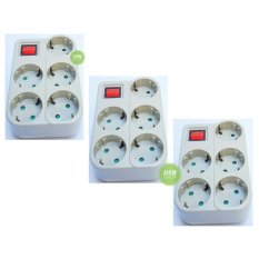 Review Toko 3Pcs Uticon Stop Kontak Steker Arde 5 Lubang Multisocket Saklar 1 Switch 5In1 Pengaman Socket Abu Abu Online