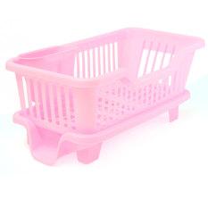 Spesifikasi 4 Warnd Dapur Cuci Piring Rak Pengeringan Dudukan Penyelenggara Baki Keranjang Pink Lengkap