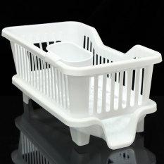 4 Warnd Dapur Dish Drainer Rak Pengering Cuci Dudukan Penyelenggara Baki Keranjang Putih