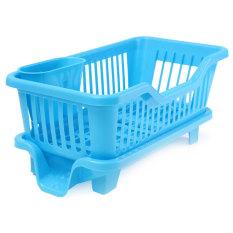 4 Warnd Dapur Cuci Piring Rak Pengeringan Dudukan Basketorganizer Baki Biru-Intl