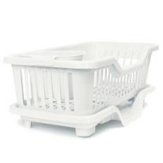 4 Warnd Dapur Wastafel Pencuci Piring Rak Pengeringan Rak Cuci Penyelenggara Pemegang Baki Keranjang Putih