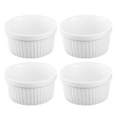 4 Pcs 3.5 inch Keramik Ramekins Souffle Baking Cangkir untuk Creme Brulee Custard Hidangan Pencuci Mulut Putih