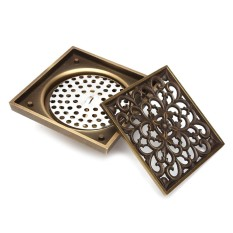 Review 4 Square Antique Brass Floor Drain Shower Kamar Mandi Masukkan Stopper Grates Limbah Intl Oem