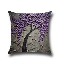 45X45 Cm Bantal Case Cover Tiga Dimensi Trees Cushion Bunga Rumah Tekstil Perlengkapan Minyak Lukisan-Internasional