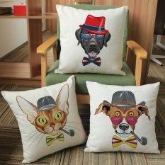 45*45 Cm Kreatif Kartun Gambar Anjing Penebalan Katun dan Linen Sarung Bantal Sarung Bantal Dekorasi Sofa Mobil Sarung Bantal-Intl