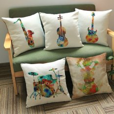 45*45 Cm Creative Colorful Gitar Printing Cotton dan Sarung Bantal Linen Rumah Bantal Coat Shelf Drum Sax Biola Bass Gitar -Intl