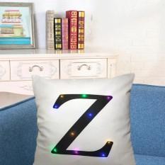 45*45 Cm Creative Nyaman Bahasa Inggris Letter Throw Pillow Case LED Light Luminous Glow Sofa Cushion Cover Tanpa Core Rumah Tempat Tidur Sofa Dekorasi Gaya: Putih Zaman Ukuran: 45*45 Cm-Intl