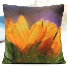 45*45 Cm Populer Elegan Bunga Pola Sarung Bantal Katun Linen Bantal Sofa Rumah Dekorasi Mobil (Tulip) -Intl
