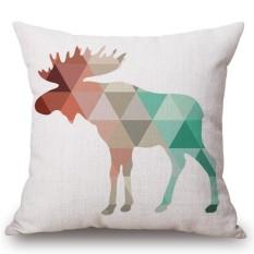 45x45 Cm Katun Linen Bantal Square Sarung Bantal Geometri Sederhana Printing Cushion Cover Mobil Sofa Tempat Tidur Dekorasi Spesifikasi: Elk Ukuran: 45 Cm X 45 Cm-Internasional