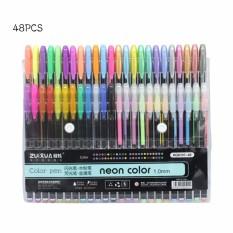 Harga 48 Warna 1 0Mm Gel Pena Set Metallic Pastel Neon Glitter Sketsa Pena Warna Menggambar Manga Penanda Sekolah Alat Tulis Intl Baru Murah