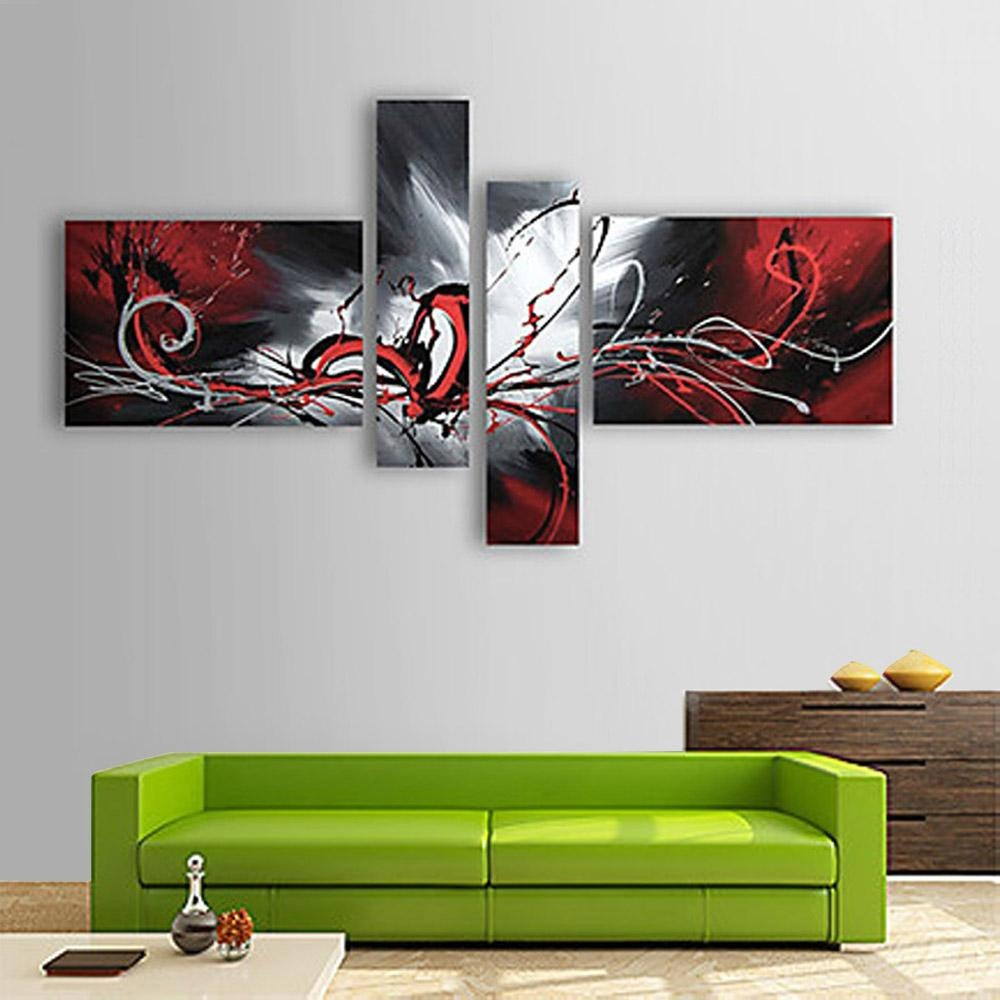 4 Pcs Tangan-cat Lukisan Minyak Set Mengalir Lines Modern Abstrak Gambar untuk Rumah Ruang