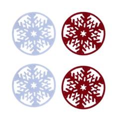 4 Pcs Merry Natal Kepingan Salju Cup Mat Dekorasi-Intl