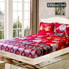 4 Pcs/set Natal Santa Bedding Set Serat Mikro 3D Printed Fitted Bed Sheet + 2 Pcs Sarung Bantal + Bed Sheet Set Natal Dekorasi Kamar Tidur-Queen Size-Intl