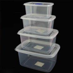 4 Pcs/set Makanan Plastik Kotak Penyimpanan Tertutup Rak Kulkas Kotak Wadah Pelestarian (Rectangle)-Intl