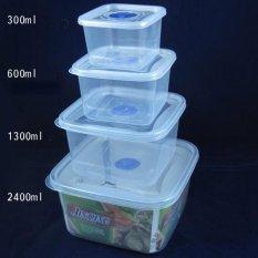 4 Pcs/set Makanan Plastik Kotak Penyimpanan Tertutup Rak Kulkas Kotak Wadah Pelestarian (Square)-Intl