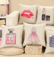 Toko 4Pcs Set Simple Fashion Printed Cotton Pillowcase Home Decoration Textile Arts Crafts Sofa Car Cushion Cover Spin Linen Cloth Pillow Case Intl Online Tiongkok