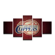 4X6inX2 4X8inX2 4X10inX1 Gambar Modular 5 Panel Clippers Los Angeles Olahraga Deco Kipas Poster Lukisan Minyak Di Atas Kanvas Gambar untuk ruang Tamu (Bingkai) -Internasional