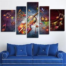 5 Panel Dinding Ukuran Besar Seni Lukisan Kanvas Musik Gitar Poster Dekorasi Rumah Cetakan Gambar Seni