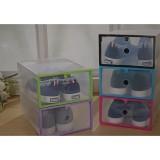 Spesifikasi 5 Pcs Kotak Sepatu Transparan Buka Depan Dengan Frame Plastik Warna Warni Beserta Harganya
