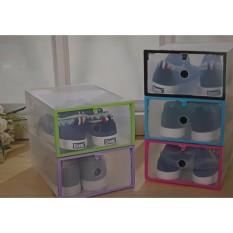 5 Pcs Kotak Sepatu Transparan Buka Depan dengan Frame Plastik Warna Warni