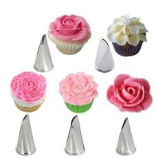 5 Pcs/set Kelopak Mawar Logam Cream Tips Kue Dekorasi Alat Steel Icing Nosel Pipa