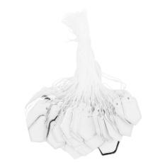 500 Pcs Harga Tag dengan Senar Cincin Gantung Pameran Jual-Putih dan Perak-Intl