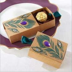 50 Pcs Jeweled Peacock Kraft Pernikahan Favor Kotak Permen Filler Party Nikmat Bridal Shower