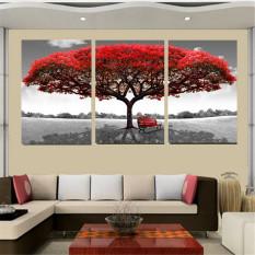50 Cm X 70 Cm Merah Pohon Modern Lukisan Cat Minyak Di Atas Kanvas Abstrak Seni