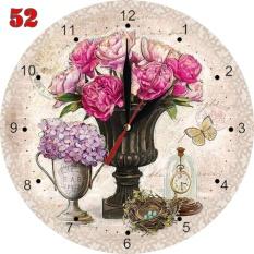 Toko 52 Jam Dinding Hiasan Interior Ruangan Unik Motif Bunga Klasik Vintage Natural Online