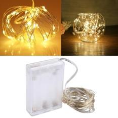 5 M 6 W 50 LED SMD 0603 IP65 Waterproof 3 X Baterai AA Kotak Cincin Kawat Perak Fairy Lampu Lampu Dekoratif, DC 5 V (Cahaya Kuning)-Intl
