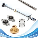 Jual Beli Online 5 Pcs 30 Cm T8 Lead Scr*w Rod W Nut Bearing Block Coupler 8Mm X 300 Mm Cnc Set