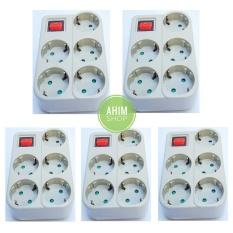 5pcs Uticon Stop Kontak / Steker Arde 5 Lubang Multisocket + Saklar 1 Switch (5in1) + Pengaman Socket (Abu-Abu)