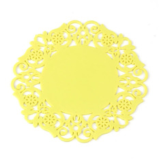 Jual 5X Lovely Silicone Lace Flower Cup Coaster Nonslip Cushion Placemat Yellow Branded Murah