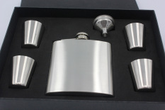 Beli 6 Ounce Outdoor Stainless Steel Flagon Flagon Portable Gift Set 4 Cup 1 Corong Seken