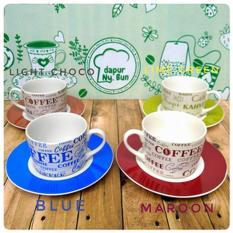 Harga 6 Pasang Cangkir Set Full Print Coffee 6 Cangkir 6 Saucer Alas Yang Bagus
