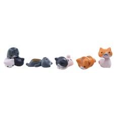 6 buah kartun kucing lucu dekorasi santai pemandangan mikro