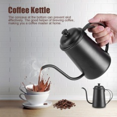 650 Ml Stainless Steel Gooseneck Moncong Ketel Pour Over Coffee Tea Home Brewing Drip Pot (Hitam)-Intl