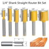 Jual 6 Pcs 1 4 Shank Lurus Router Bit Set 1 4 5 16 3 8 1 2 5 8 3 4 Diameter Intl Branded Murah