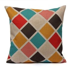 Dapatkan Segera 6 Pcs Warna Warni Deret Gelombang Chevron Rumah Melempar Bantal Sofa Sarung Bantal Linen