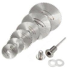 6 Pcs Mini HSS Alat Rotary Circular Saw Blades Cutting Disc Wheel Mandrel untuk Dremel-