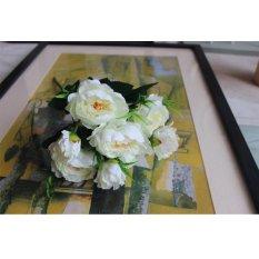 7 Kepala Simulasi Peony Palsu Bunga Sutra untuk Pesta Hiasan Meja Pernikahan Putih-Intl