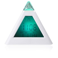 7 LED Color Changing Pyramid Digital LCD Snooze Alarm ClockTriangleThermometer C/F-Intl